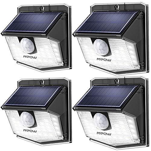 Mpow Solarlampen für außen,30 Leds, 270 °Weitwinkel, 120° Bewegungsmelder, IP65 Schutzart, Solar aussenleuchte mit bewegungsmelder,Led solar für Garage,Hoftür,Einfahrt,Treppen - 4 Stück