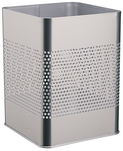Durable 332123 Papierkorb Metall eckig 18,5 Liter, Perforation 165 mm, silber