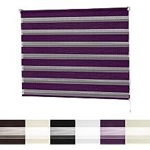 Estore enrollable para día y noche | VarioLight: opaco o tamizado | Estores sin agujeros | 6 colores y 8 tamaños, morado