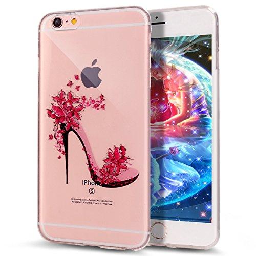 iPhone 6S Plus / 6 Plus Hülle (5,5 Zoll),iPhone 6S Plus Hülle,iPhone 6 Plus Hülle,Tasche für iPhone 6 Plus / 6S Plus,ikasus® Schutzhülle für iPhone 6 Plus / 6S Plus Silikon Hülle [Kristallklar Durchsi Schmetterlings Blumen Schuhe
