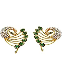 Surat Diamonds Peacock Motif Green Stone, Shell Pearl And Gold Plated Ear Cuffs For Women (PSE71)