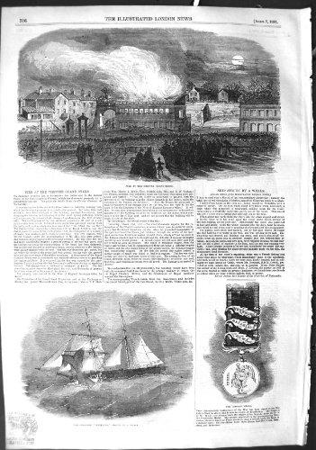 Bateau Grand Waterloo de Schooner de Gabarit de Chester des 1855 Feux par original old antique victorian print