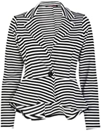 6cf9bfcea57e Islander Fashions Damen Mit Langen Ärmeln Rüschen Verschieben Ausgestattet  Unteren Rücken Peplum Blazer (EU 36