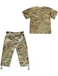 KAS Kids Army Set Camo Soldier Cadet Multi Terrain Pattern Camouflage - Tshirt & Trousers - 9/10 yrs