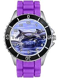 Timest - Delfín - Unisex Reloj con Correa de Silicona morado Analógico Cuarzo CSE068pu