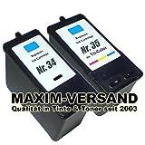 2x Tinten-Patronen (Set) kompatibel Lexmark 34 XL Schwarz / Black + 35 XL 3-farbig / tri-color Refill-Patronen