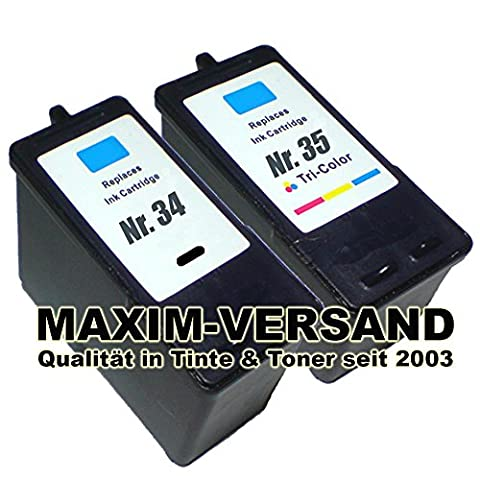 2x Tinten-Patronen (Set) kompatibel Lexmark 34 XL Schwarz / Black + 35 XL 3-farbig / tri-color