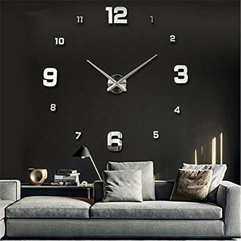 Yosoo DIY 3D Horloge Murale Design Géante Grande Taille Moderne Ronde avec Chiffres pour Décoration Salon Bureau - Style 2, Argent