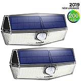 [2 Pezzi] 200 LED Luci Solari Esterno,【2019 Ultimi Modelli 】Luce Solare Sensore con Movimento Esterna 3 Modalità di Illuminazione, Impermeabile IPX7, 270ºIlluminazione Lampada Solare per Giardino