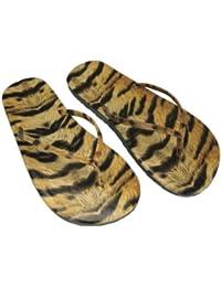 Tongs Imprimées Tigre, Imprimé Animal, Synthétiques, Sandales de Plage, Pointures 4 à 8, Pour Femmes
