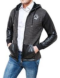 Giubbotto giacca uomo New York nero tweed ecopelle casual giubbino cardigan slim  fit c55280374a5