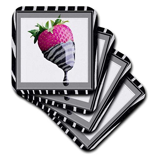 3dRose CST 21308Kalifornischer Mohn 1Strawberry in Zebra Frosting-Soft Untersetzer, 4Stück -