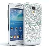 Samsung Galaxy S4 mini Schutzhülle Silikon Mandala Design I von EAZY CASE I Slimcover Henna, Handyhülle, TPU Hülle / Soft Case, Silikonhülle, Backcover, indische Sonne, transparent, Weiß/Türkis