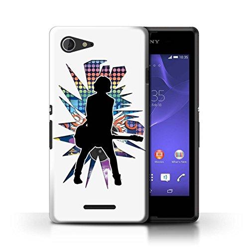 Kobalt® Imprimé Etui / Coque pour Sony Xperia E3 / Hendrix Blanc conception / Série Rock Star Pose émotion Blanc