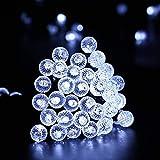Qedertek Guirlande Solaire Extérieure 7m 50 LED Guirlande Boules Blanc Froid 8 Modes Guirlande Noël pour Jardin, Maison, Mariage, Terrasse