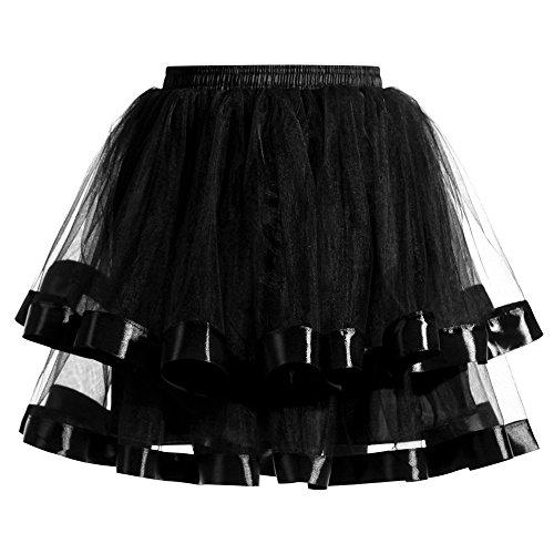 Xmiral Damen Tüllröcke Tanzen Röcke Zwei Schichten Gaze Farben Kurzer Mini Petticoat(Schwarz)