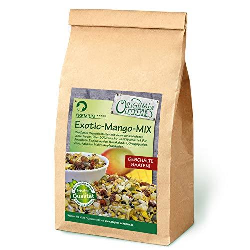 Original-Leckerlies: Exotic-Mango-Mix 1 kg, Premium Qualität*** Papageienfutter mit geschälten Saaten, hohem Fruchtanteil, Getreide aus kontrolliertem Anbau, leckerer Kokosnuss und Orangenblüten