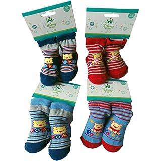 MLS Kids Disney Winnie the Pooh Baby Socken 4er Pack - Team Pooh - Blau/Rot/Grau/Mehrfarbig/Gestreift Bundle