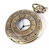YESURPRISE Klassische Retro Stil Quarz Uhr Taschenuhr mit Kette Schmuck Bronze Farbe Geschenk Xmas Gift watch reloj de pulsera montre de