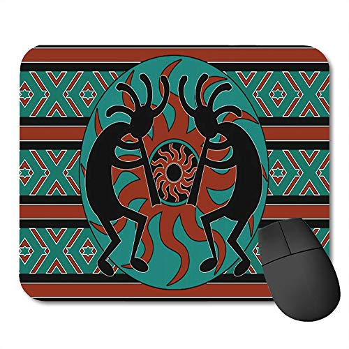 rutschfeste Gummi-Rechteck-Mausunterlagen,Southwestern Tribal Aztec Kokopelli S¨¹dwest Indianer FL?te