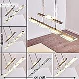 LED Pendelleuchte Albeek aus Metall Nickel matt/Chrom - Hängeleuchte für Esszimmer - Wohnzimmer - Diese Leuchte ist mit einem Touchdimmer ausgestattet - Die Höhe ist mithilfe des Stabpendels beliebig verstellbar