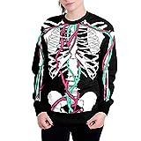 VEMOW Herbst Winter Damen kostüm Halloween Kürbisse 3D Druck Langarm Hoodie Sweatshirt Casual Täglich Halloween Cosplay Party Pullover Top(Schwarz, EU-46/CN-XXL)