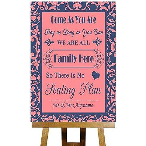 Famiglia del piano non tutti i posti a sedere, colore: rosa corallo & Blue Collection-Biglietto di auguri personalizzabile, motivo: matrimonio