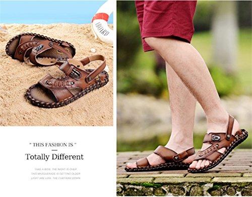 LXXAMens Estate Spiaggia Sandali Maschio Slipper Velcro Pattini Esterni Due Utilizzi Brown