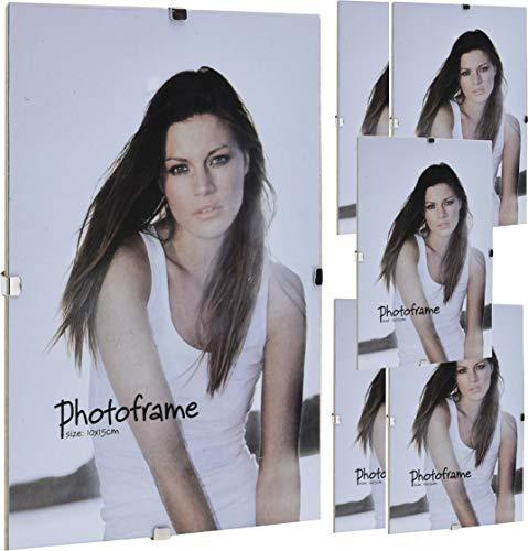6 Stück DKB Bilderrahmen Glas Rahmenlos 13 x 18 cm Halteklammern Foto