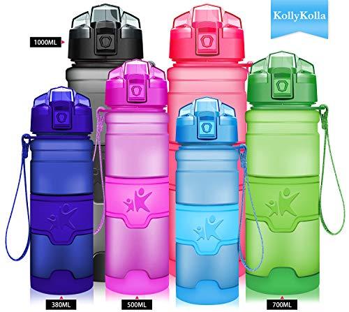 KollyKolla Trinkflasche, BPA-frei Auslaufsicher Sport Wasserflasche, 1000ml Tritan Sportflasche Kohlensäure Geeignet Kunststoff mit Filter für Kinder, Schule, Mädchen, Fahrrad, Gym, Mattblau