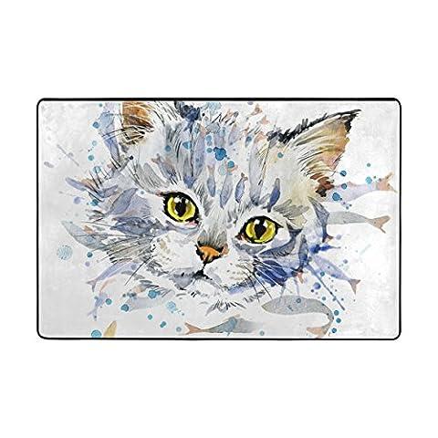 ingbags Watercolor Katze Wohnzimmer Essbereich Teppiche 3x 2Füße Bed Room Teppiche Büro Teppiche Moderner Boden Teppich Teppiche Home Decor, Polyester, multi, 6 x 4 Feet