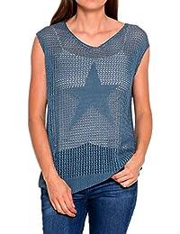 Damen Netz Oberteil Grob-Strick Pullunder weit geschnitten mit Stern Muster in rot rosa grau oder blau