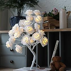 9pig® 21 Fiori White Rose Comodino Camera da letto Night Light Table Desk Lamp Decorazione della casa Simulazione Albero Natale Matrimonio Festa di compleanno Arredamento da giardino