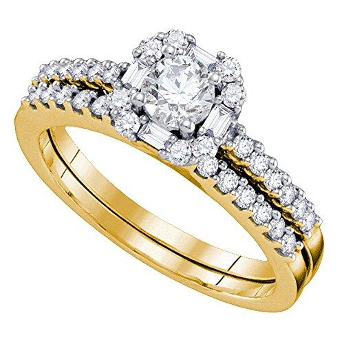 Damen-Verlobungsring-Set 14 kt Gelbgold, runde Diamanten, schmal