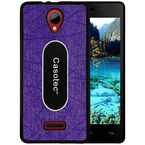 Casotec Metal Back TPU Back Case Cover for Micromax Canvas Fun A76 - Purple  available at amazon for Rs.249