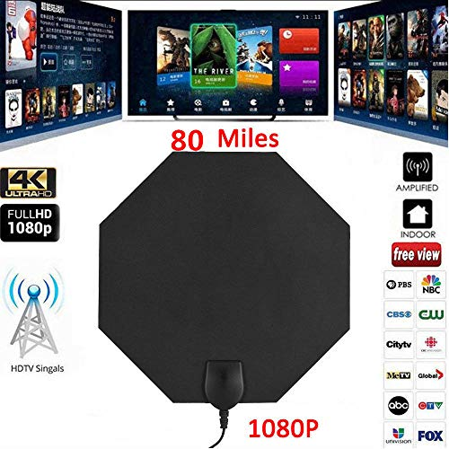 door Free View TV Antenne, 0,5 mm Ultra-dünne Indoor verstärkte Digital TV Antenne HDTV Antenne 4M langes Kabel ()