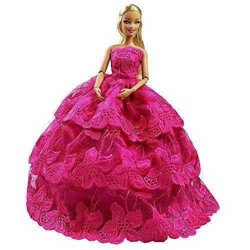 Preisvergleich Produktbild Handgemachte Qualität Multi-layer prinzessin HochzeitsKleid PartyKleid für Barbie Kleidung - FARBE ROSE ROSA-XMAS-GESCHENK