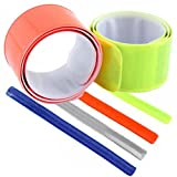4pcs Bike Bicycle Reflective Safety Slap On Wrist Ankle Bands for Cycling Jogging Running Walking (Random Colours)