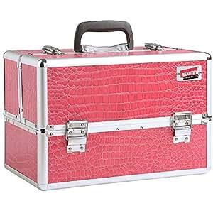Beautify - Grosser Professioneller Faux Rosa Krokodil Aluminium Beauty Kosmetik & Make Up Koffer