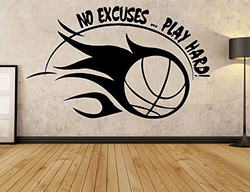 nkfrjz Basketball Sport Aufkleber Motivation Zitate Keine Entschuldigungen Spielen Harte Wand Vinyl Aufkleber Dekoration Für Tranning Club Wohnheim 68X42 cm