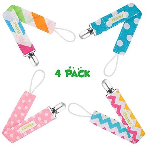 itaar-set-di-4-catenelle-e-clip-ciuccio-da-bambini-cotone-clip-per-succhietto-porta-succhietti-color
