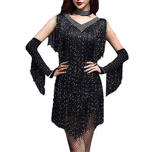 Damen tanzkleid Frauen Sleeveless V-ausschnitt Shiny Strass Quasten Flapper Latin Dance Kleid Outfit Erwachsene Rumba Tango Dancewear Bühnentanz Kostüm Tanzkleid ( Farbe : Schwarz , Größe : M )