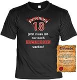 Geburtstag T-Shirt Endlich 18 Jahre Fun Shirt 4 Heroes Geschenk Geil Bedruckt mit Urkunde
