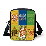 Ytavv Going Away Party Decorations,Lucky Phrase Text Farewell Comic Book Pop Art Retro Typography,Multicolor Print Kids Crossbody Messenger Bag Purse