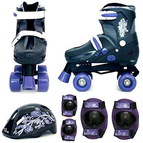 Sk8 Zone Mädchen Violett Schwarz Rollschuhe Gepolstert Kinder Roller Stiefel Sicherheit Polster Helm Kinder Skate Set - Large 3-6 (35-38 EU)