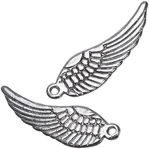 Double-face, in argento con ciondoli a forma di ali d'angelo, 30 mm, 2 pezzi