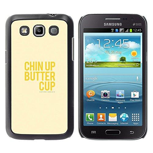WonderWall Tapete Bunt Bild Handy Hart Schutz hülle Case Cover Schale Etui für Samsung Galaxy Win I8550 I8552 Grand Quattro - optimistisch glücklich positive gelben Text