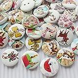 Chenkou Craft 100pcs Babbo Natale cappello cervi Claus House Bell decorazione legno pulsanti 20mm cucito mix molto
