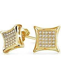 351e23f70dfe Zirconia cúbico cuadrado Micro allanar CZ Kite Stud Earrings Para  Hombres14K chapado en oro y plata
