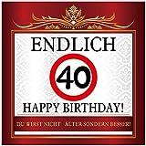 Aufkleber zum Geburtstag mit Text und Zahl - Endlich 40